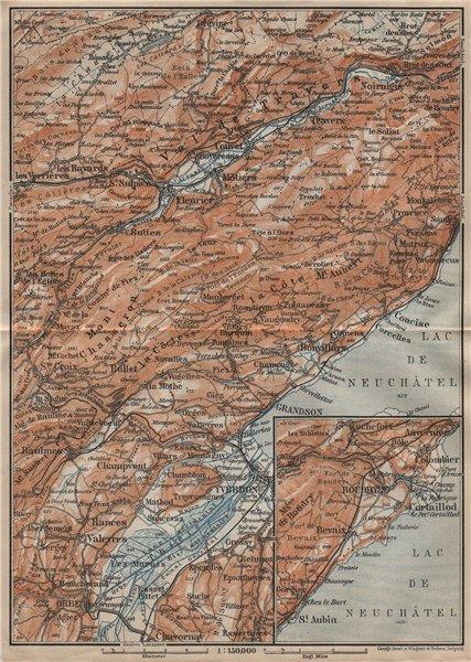 Associate Product JURA. Val-de-Travers Orbe Noiraigue Yverdon Grandson Môtiers Buttes 1920 map