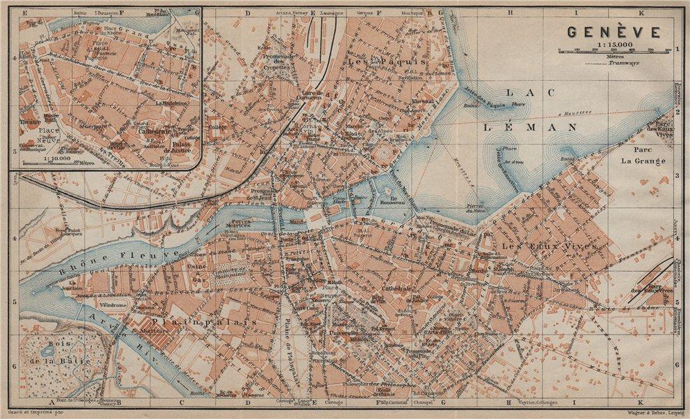 Associate Product GENEVA GENÈVE GENF. town city stadtplan. Switzerland Suisse Schweiz 1920 map
