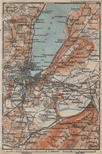 Associate Product GENEVA GENÈVE GENF ENVIRONS. Switzerland Suisse Schweiz carte karte 1920 map