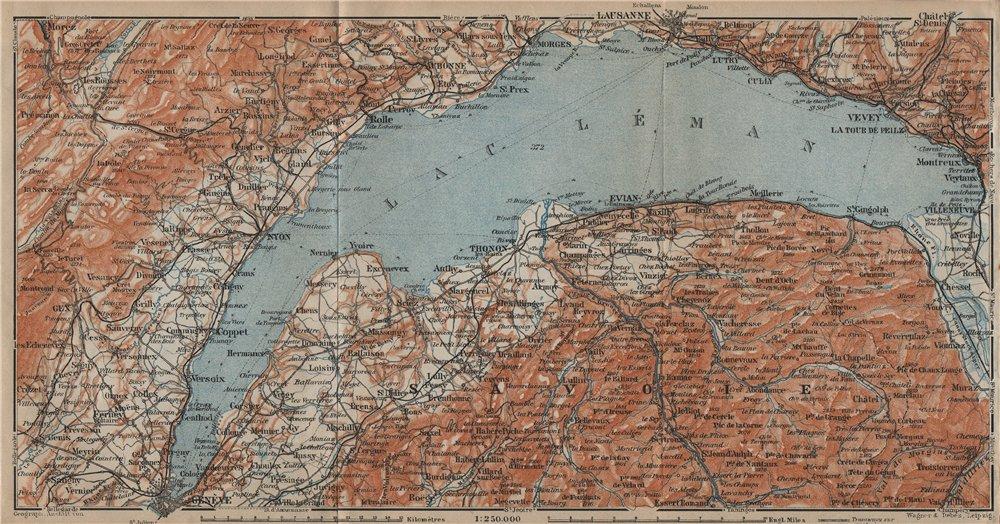 Associate Product LAKE GENEVA/LAC LÉMAN. St Cergue Chatel St Jean d'Aulph Lausanne Evian 1920 map