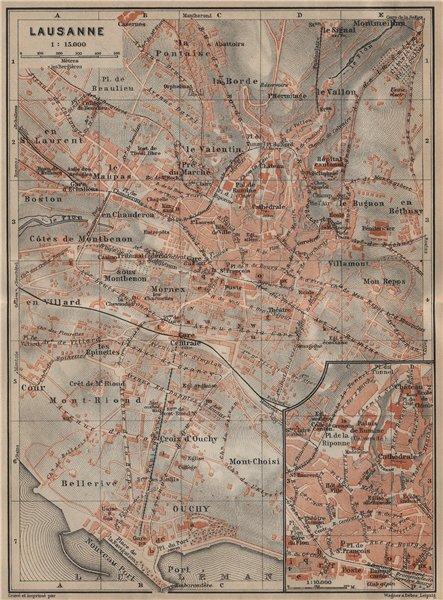 Associate Product LAUSANNE. town city stadtplan. Switzerland Suisse Schweiz carte karte 1920 map