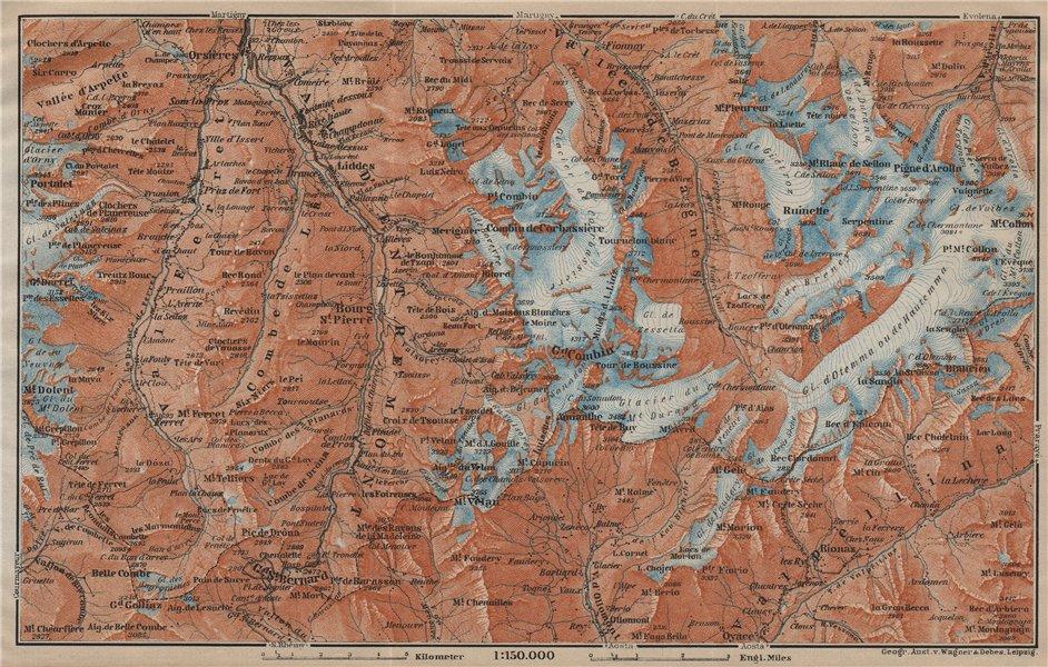 Associate Product GRAND ST BERNARD ENVIRONS Arolla Grand Combin Massif Orsières Mt Velan 1920 map