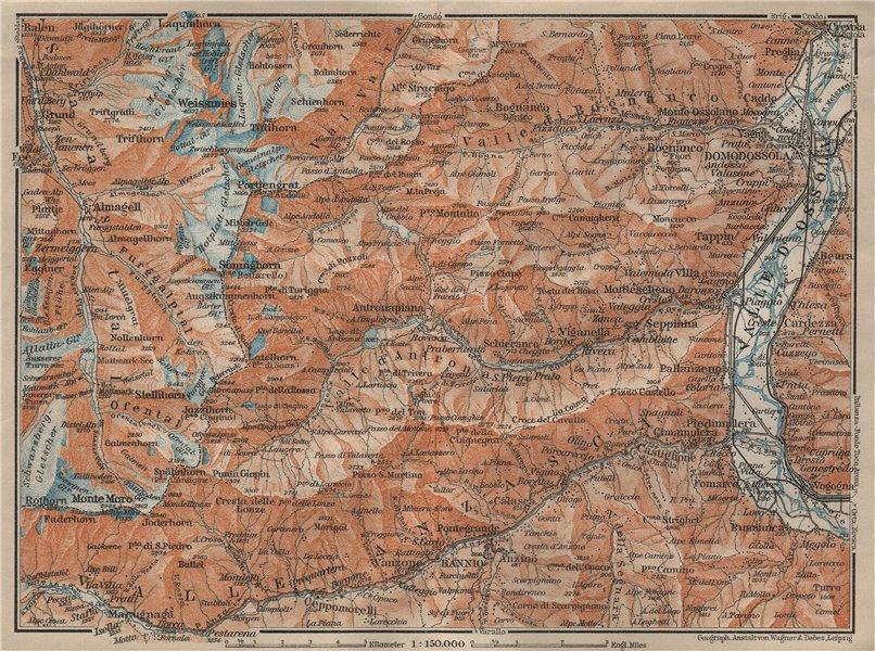 Associate Product VALLE ANTRONA. Saas-Fee/Grund/Almagell Bannio Weissmies Domodossola 1920 map