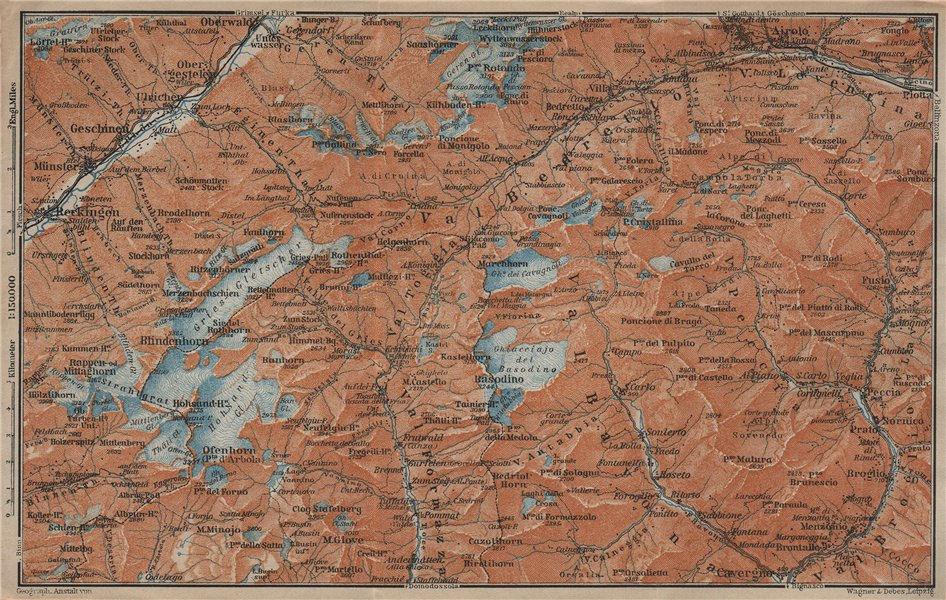 Associate Product GRIES PASS & NW TICINO ALPS. Val Bedretto Airolo Basodino Ofenhorn 1920 map
