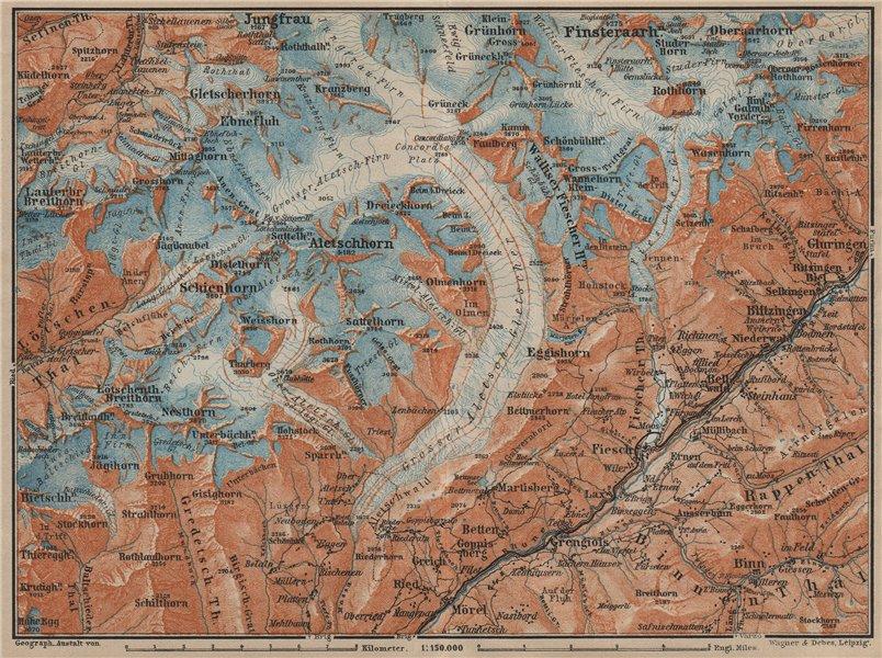 Associate Product ALETSCHHORN DISTRICT. Fiesch Mörel Jungfrau Nesthorn Grengiols 1920 old map