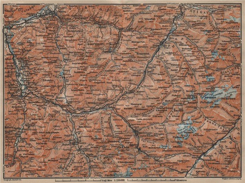 GRAUBÜNDEN/ALBULA ALPS. Chur-Samedan. Arosa Lenz Davos Savognin Thusis 1920 map