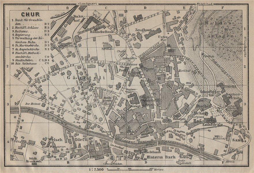 Associate Product COIRE / CHUR. Chur. town city stadtplan. Switzerland Suisse Schweiz 1920 map