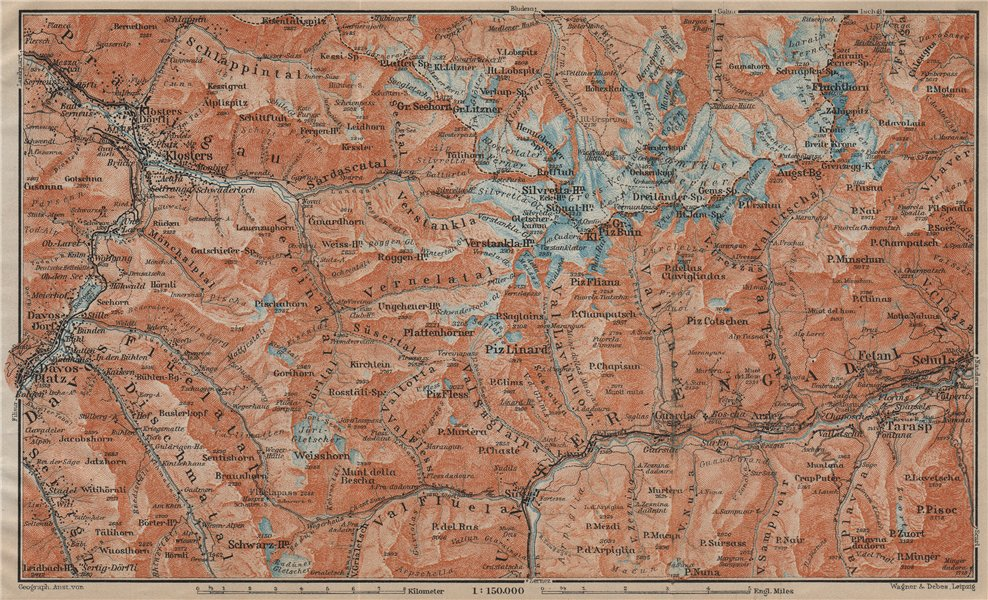 Associate Product SILVRETTA GROUP. Klosters Davos Ftan Scuol Fluchthorn Lower Engadin 1920 map