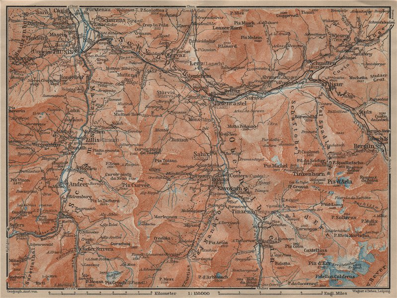 Associate Product ALBULA ALPS. Thusis Tiefenkastel Savognin Piz Ela/d'Err/Calderas Salux 1920 map