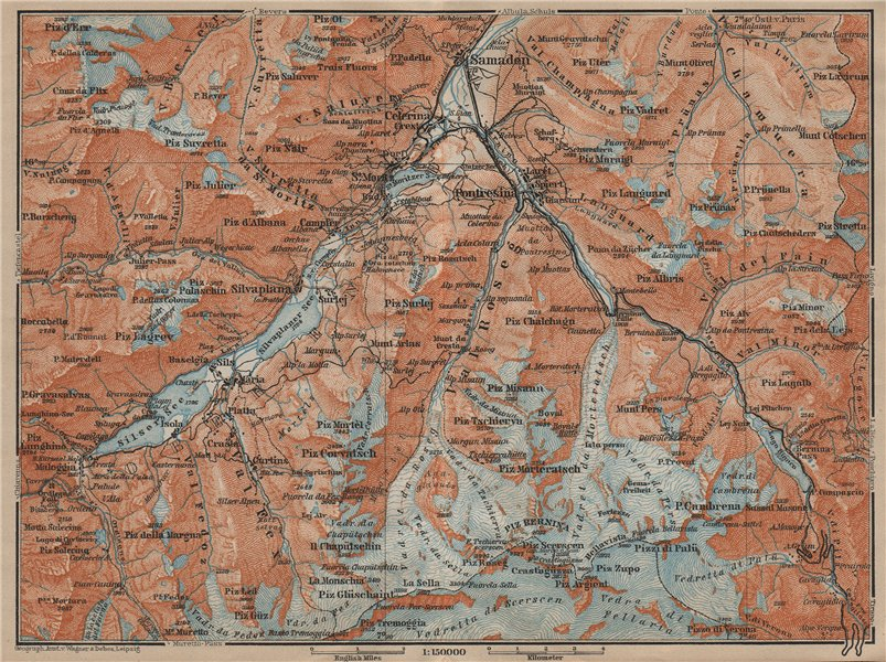Associate Product UPPER ENGADINE. St Moritz Celerina Pontresina Sils-Maria Bernina Range 1920 map