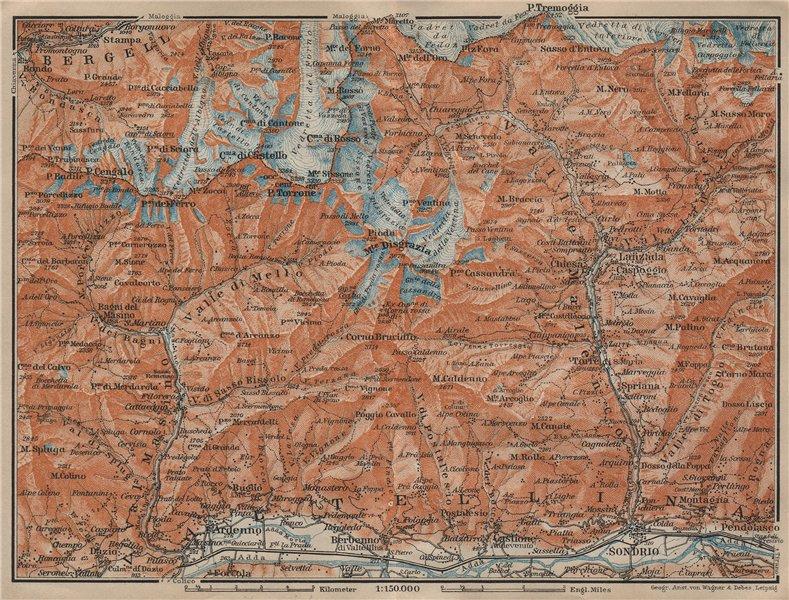 Associate Product VAL MASINO/BREGAGLIA ALPS. Disgrazia Caspoggio Tellina Malenco Sondrio 1920 map
