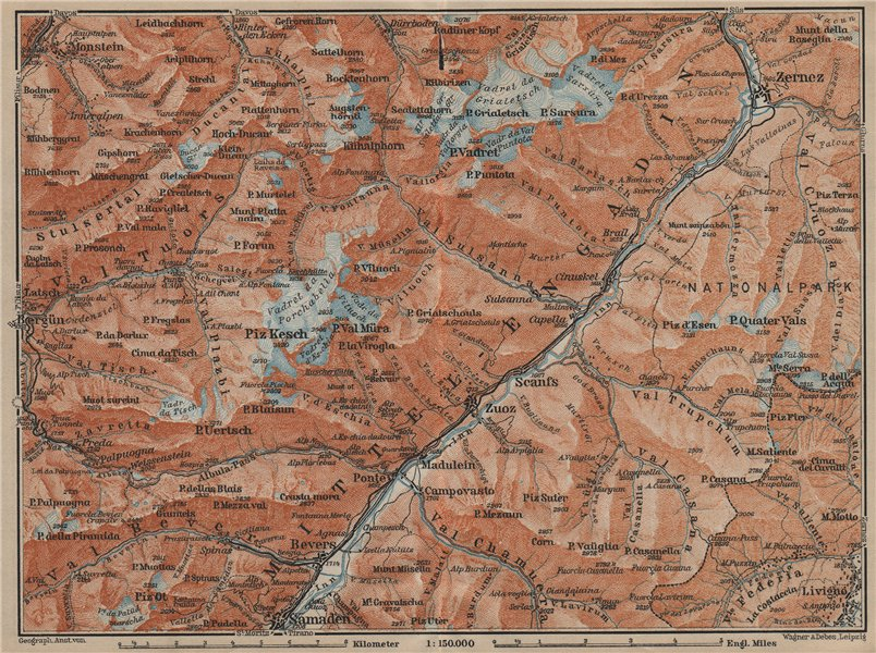 Associate Product MIDDLE ENGADINE VALLEY. Samedan-Zernez. Zuoz Livigno Albula Alps 1920 old map