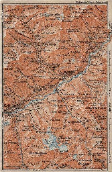 LOWER ENGADINE VALLEY. Scuol-Martinsbruck/Martina Schleins Remiis 1920 old map