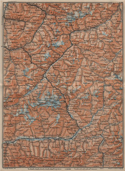 Associate Product ENGADINE/VAL TELLINA. Davos Arosa Sils Bormio Livigno Sondrio Chur 1920 map