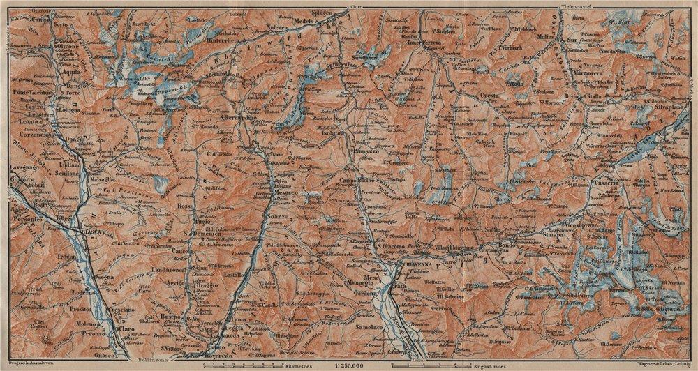 Associate Product LUKMANIER to MALOJA.Sils Maria Bivio Madesimo Chiavenna San Bernardino 1920 map