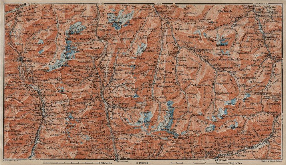 Associate Product SPLÜGEN-BONDO. Madesimo San Bernardino Mesocco Tambohorn Surettahorn 1920 map