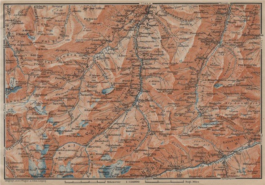 Associate Product LUGNETZTAL SURSELVA. Valserrhein Furketlihorn Hinterrhein Splügen 1920 old map