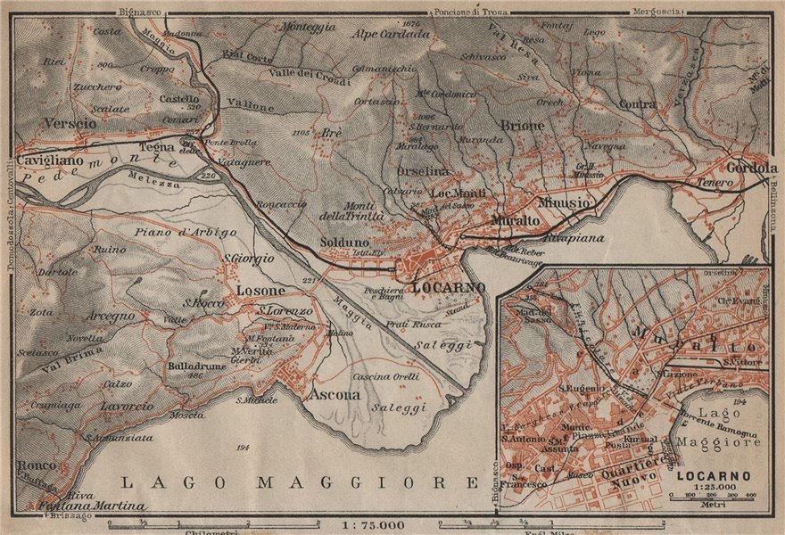 Associate Product LOCARNO area. Losone Gordola Muralto Brione. Switzerland Suisse Schweiz 1920 map