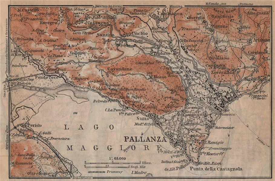 PALLANZA ENVIRONS. Verbania. Intra Unchio. Italy mappa. BAEDEKER 1920 old