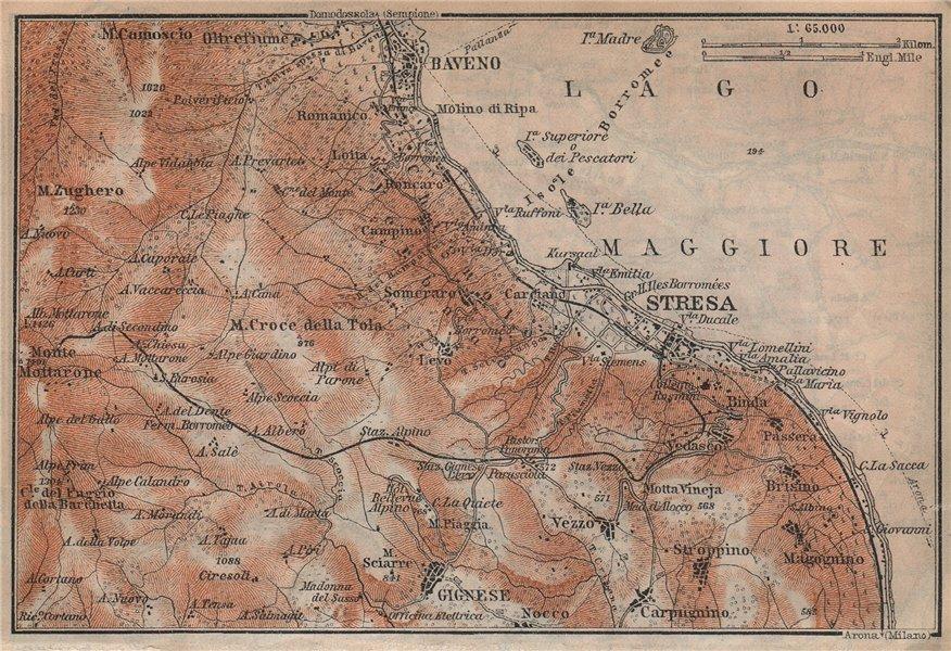 Associate Product STRESA ENVIRONS. Baveno Gignese. Italy mappa. BAEDEKER 1920 old vintage