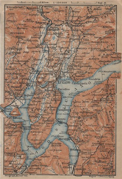 Associate Product LUGANO ENVIRONS. Lake Lago di. Topo-map. Switzerland Suisse Schweiz 1920