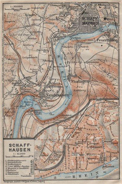 Associate Product SCHAFFHAUSEN environs. Flurlingen Feuerthalen Neuhausen. Schweiz 1922 old map