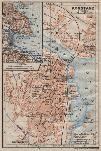 CONSTANCE. KONSTANZ. town city stadtplan. Germany karte. BAEDEKER 1922 old map