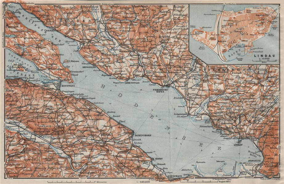 Associate Product LAKE CONSTANCE inset LINDAU. Konstanz St Gallen Bregenz. Topo-map 1922 old
