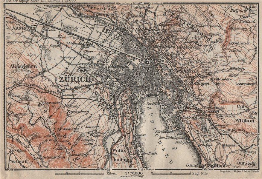 Associate Product ZÜRICH ENVIRONS. Zurich. Switzerland Suisse Schweiz carte karte 1922 old map