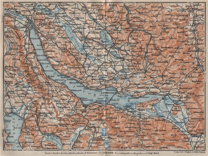 Associate Product LAKE ZÜRICH. Zuricher See Lachen Utznach.Topo-map. Switzerland Schweiz 1922