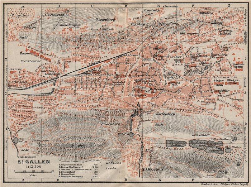 Associate Product ST. GALLEN. town city stadtplan. Switzerland Suisse Schweiz. BAEDEKER 1922 map