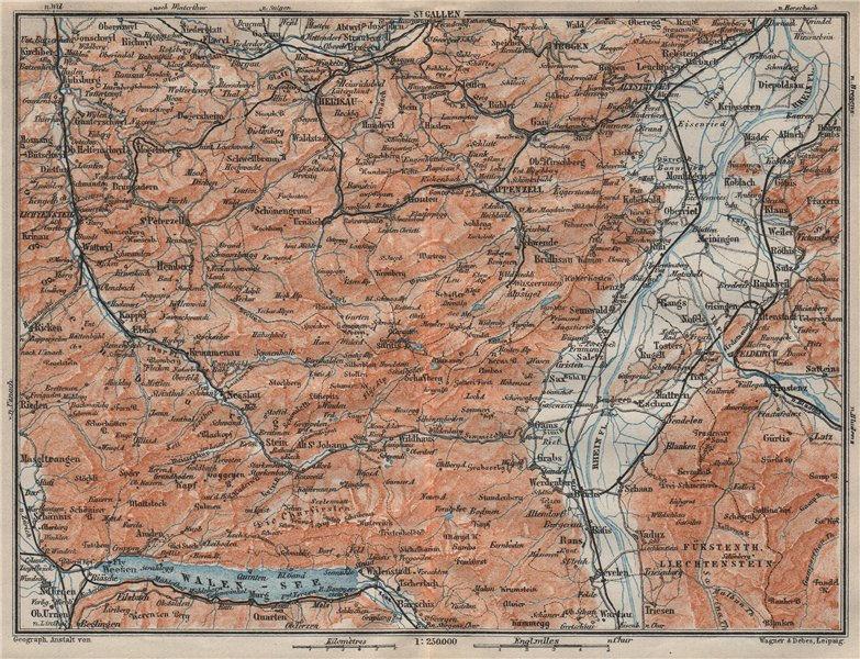 Associate Product APPENZELL CANTON. Wildhaus Unterwasser St. Gallen Trogen Walensee 1922 old map