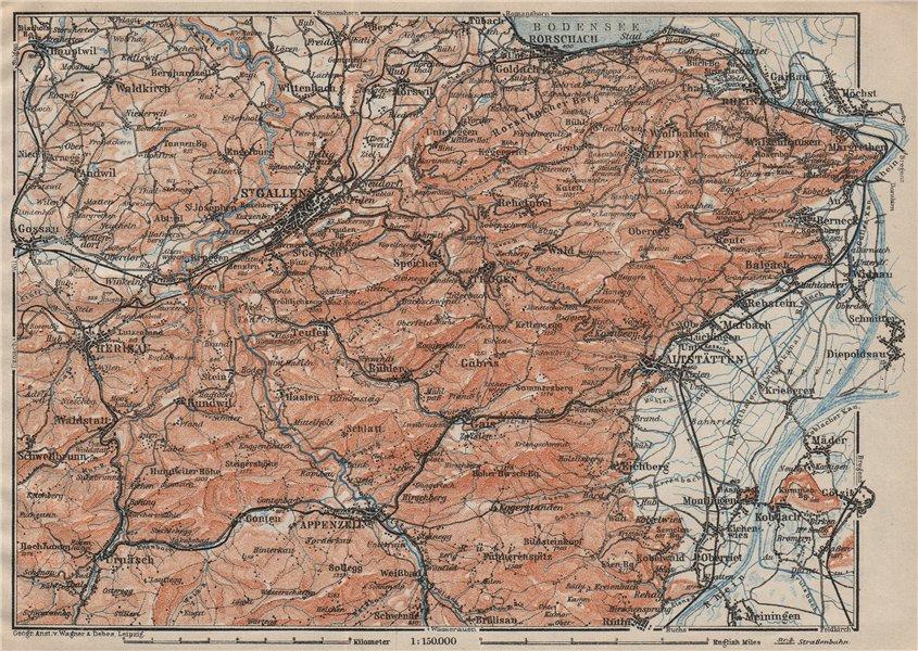 Associate Product ST GALLEN/APPENZELL area. Herigau Altstätten Heiden Rheineck Rorschach 1922 map