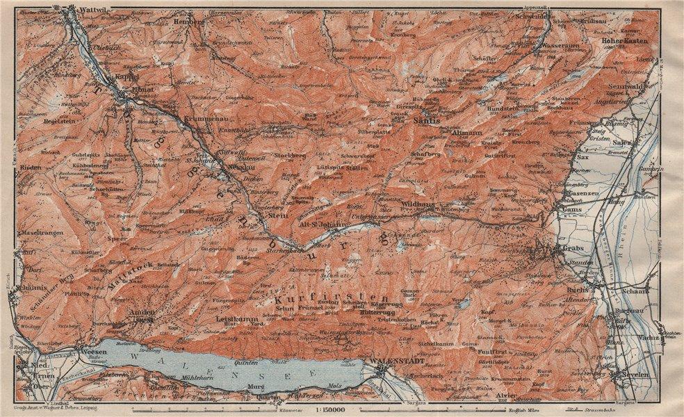 Associate Product THUR VALLEY.Säntis Toggenburg Wildhaus Alt St Johann Unterwasser Grabs 1922 map