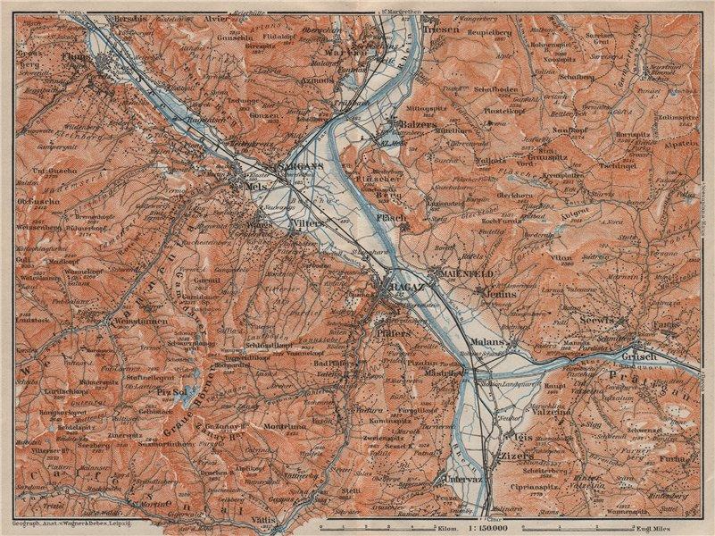 Associate Product BAD RAGAZ. Malbun Flums Wangs Pizol Sargans Grusch Malans Maienfeld 1922 map