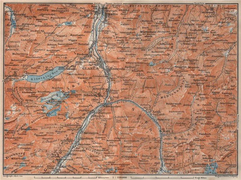 Associate Product GLARUS area. Braunwald Bächistock Netstall Mollis Näfels Elm. Topo-map 1922
