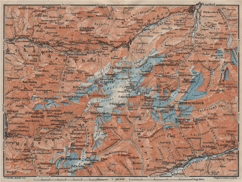 Associate Product TÖDI DISTRICT. Glarus Alps Linththal Bifertenstock Claridenstock 1922 old map