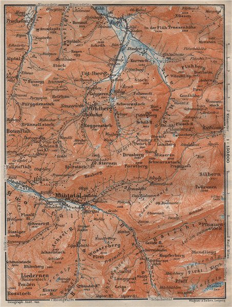 Associate Product MUOTATHAL PRAGEL & SIHLTAL. Silbern Liedernen (Kaiserstock) Iberg 1922 old map