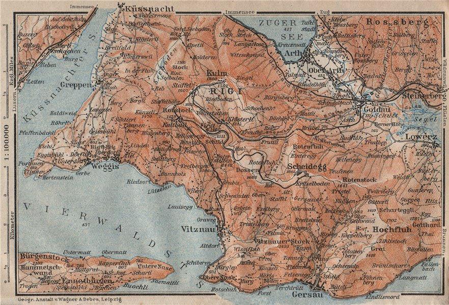 Associate Product THE RIGI. Lowerz Arth Gersau Küssnacht. Topo-map. Switzerland Schweiz 1922