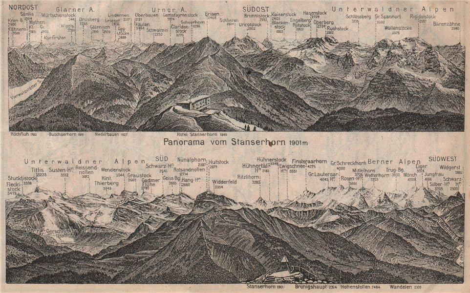 Associate Product PANORAMA from/vom STANSERHORN. Glarner Urner Unterwaldner Berner Alps 1922 map