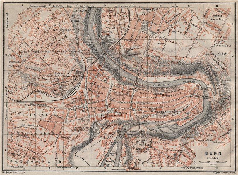 BERN BERNE. town city stadtplan. Switzerland Suisse Schweiz. BAEDEKER 1922 map