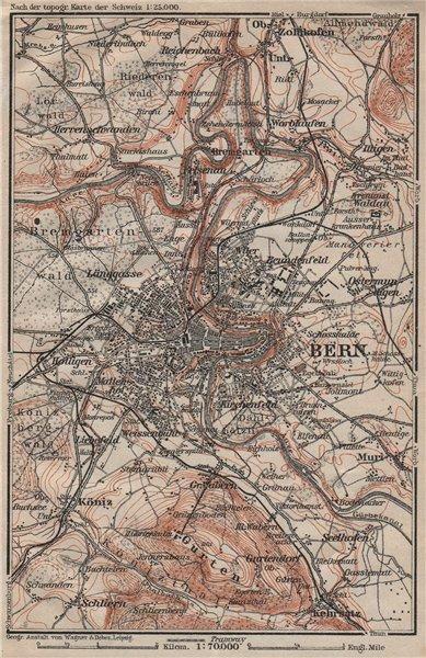 Associate Product BERN BERNE ENVIRONS. Switzerland Suisse Schweiz carte karte. BAEDEKER 1922 map