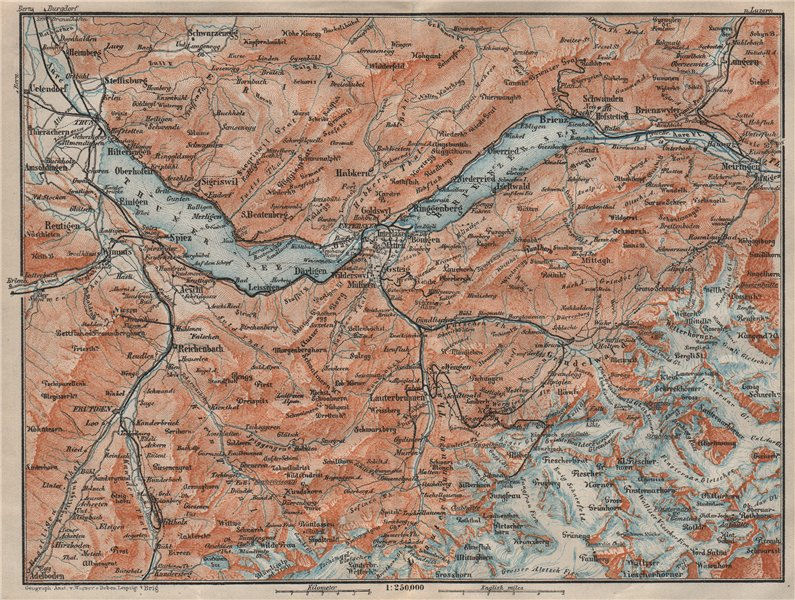 Associate Product BERNESE OBERLAND. Wengen Mürren Grundelwald Reutigen Interlaken Eiger 1922 map