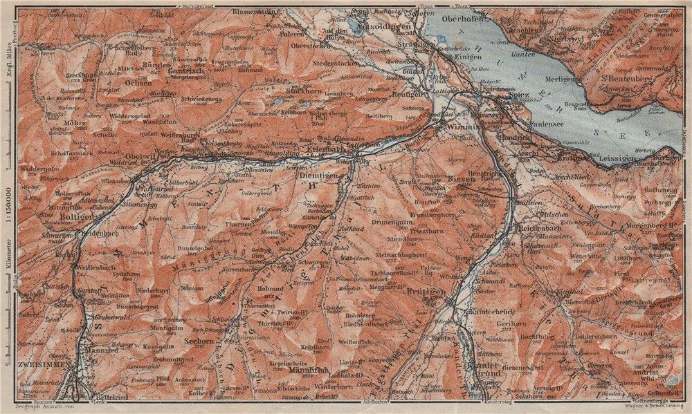 Associate Product THUNER SEE. SIMME/KANDER VALLEYS. Gantrisch Spiez Frutigen Oberwil 1922 map
