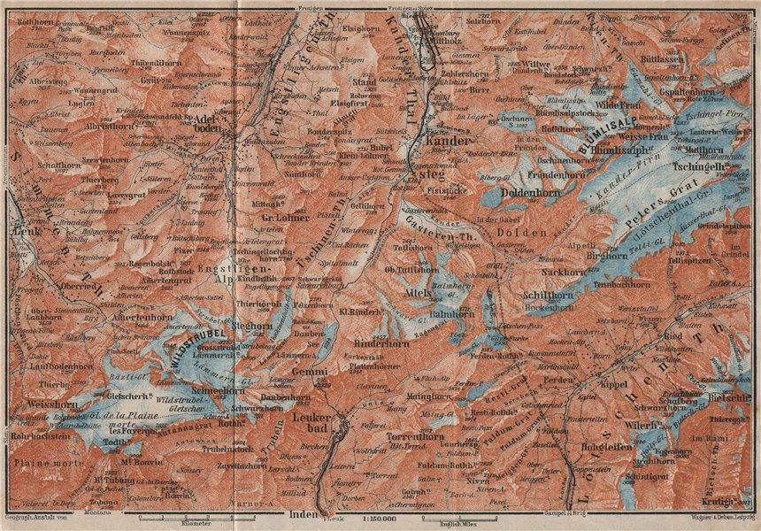 Associate Product KANDERSTEG area.Blumisalp Adelboden Wildstrubel Rinderhorn Torrenthorn 1922 map
