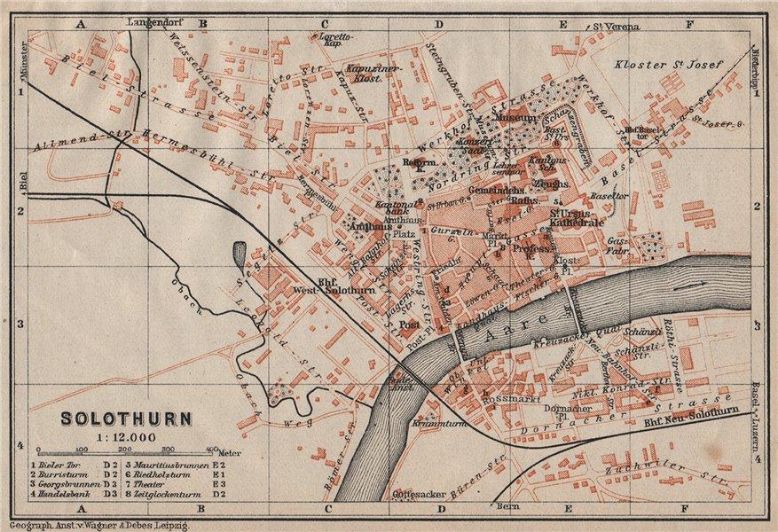 Associate Product SOLEURE / SOLOTHURN. town city stadtplan. Switzerland Suisse Schweiz 1922 map