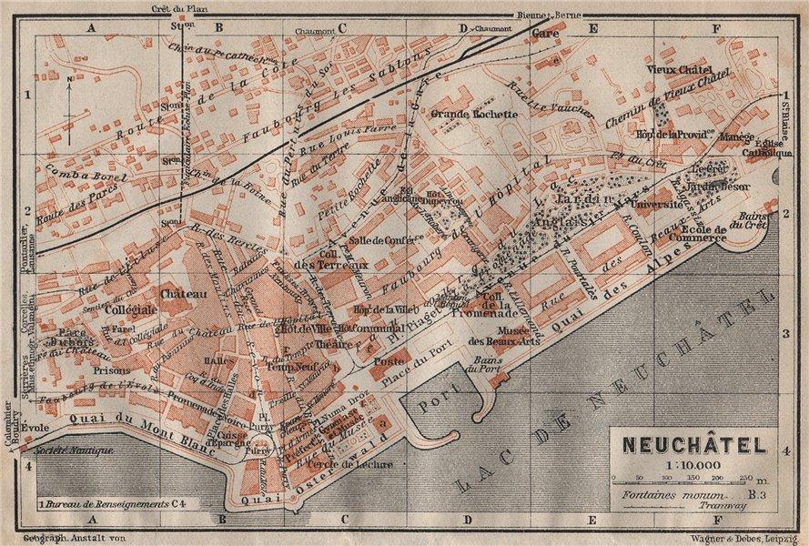 Associate Product NEUCHÂTEL / NEUENBURG. town city plan. Switzerland Suisse Schweiz 1922 old map