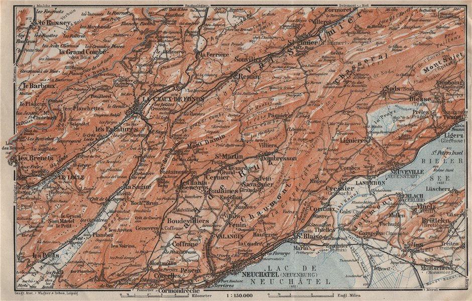 Associate Product NORTH WEST JURA. Neuchâtel La Chaux de Fonds Neuveville. Topo-map 1922 old