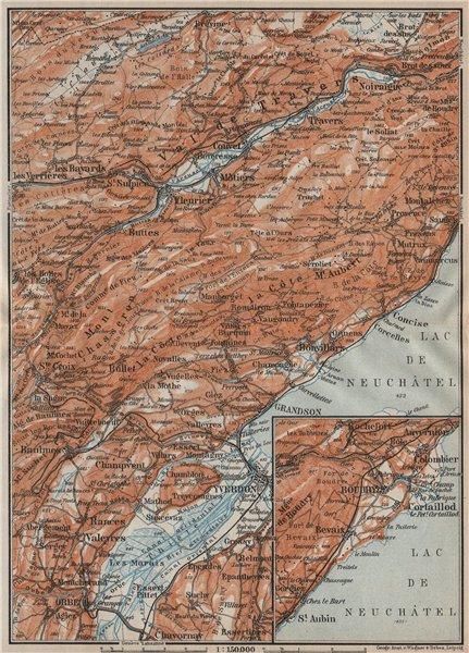 Associate Product JURA. Val-de-Travers Orbe Noiraigue Yverdon Grandson Môtiers Buttes 1922 map