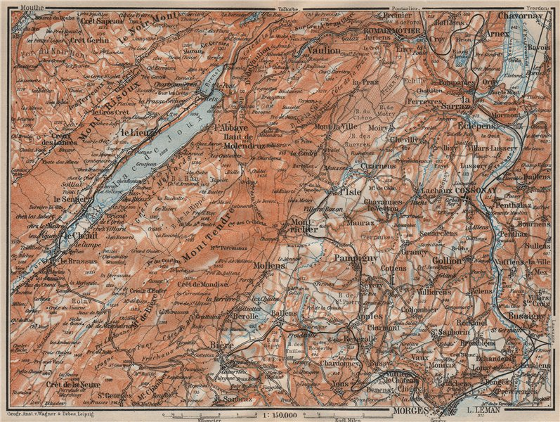 Associate Product WESTERN JURA. Morges Cossonay Vaulion Mont Risoux/Tendre Lac de Joux 1922 map